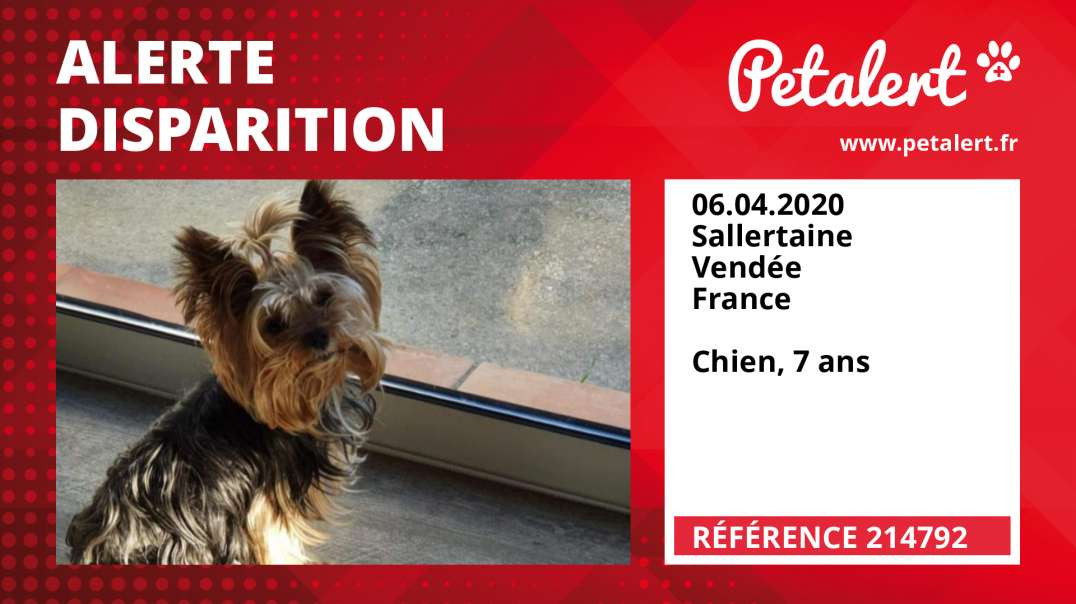 Alerte Disparition #214792 Sallertaine / Vendée / France