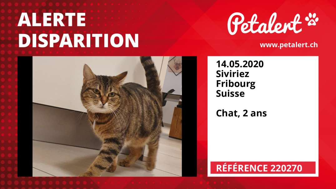 Alerte Disparition #220270 Siviriez / Fribourg / Suisse