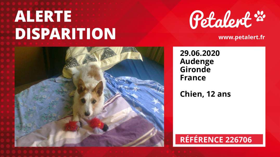 Alerte Disparition #226706 Audenge / Gironde / France