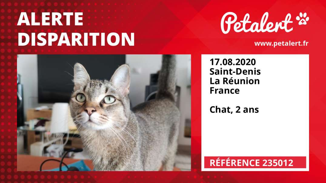 Alerte Disparition #235012 Saint-Denis / La Réunion / France